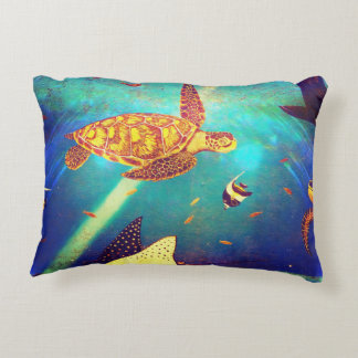 Blue Ocean Colorful Sea Turtle Painting Decorative Cushion