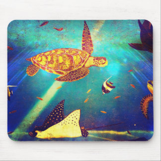 Blue Ocean Colorful Sea Turtle Painting Mouse Pad