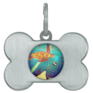Blue Ocean Colorful Sea Turtle Painting Pet Name Tag
