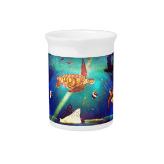Blue Ocean Colorful Sea Turtle Painting Pitcher