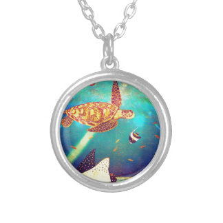 Blue Ocean Colorful Sea Turtle Painting Silver Plated Necklace
