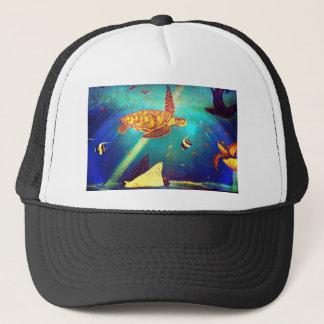 Blue Ocean Colorful Sea Turtle Painting Trucker Hat