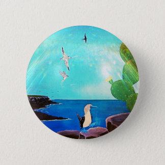 Blue Ocean Flying Birds Painting 6 Cm Round Badge