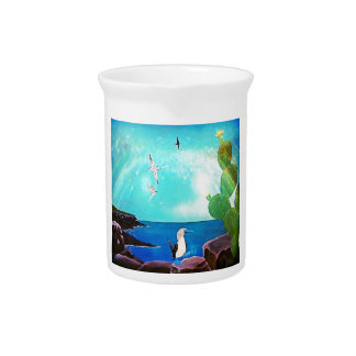 Blue Ocean Flying Birds Painting Pitcher