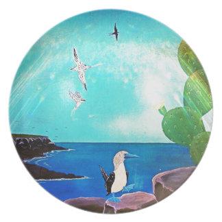 Blue Ocean Flying Birds Painting Plate