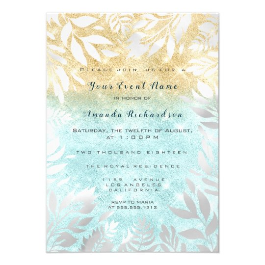 Blue Ocean Gold Glitter Ombre Floral Sparkly White Card