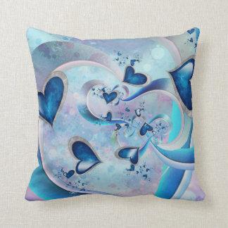 Blue Ocean Hearts Fractal Jewels Cushion