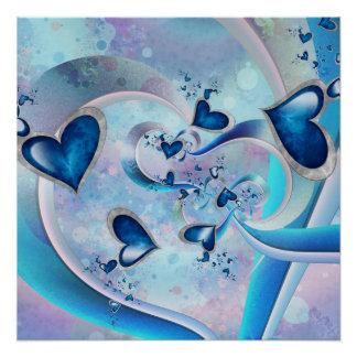 Blue Ocean Hearts Fractal Jewels Poster