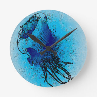 Blue Ocean Jellyfish Wall Clock