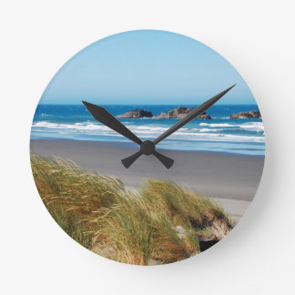 Blue ocean landscape in summer round clock
