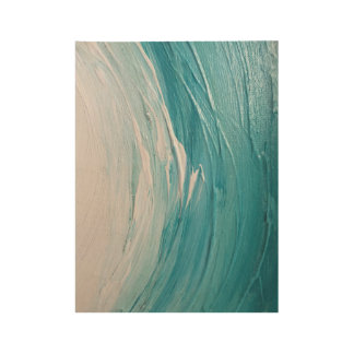 Blue Ocean Paint Wave - Wood Print