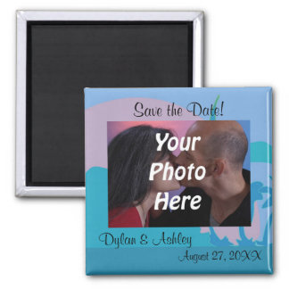 Blue Ocean Paradise Theme Photo Save the Date! Square Magnet