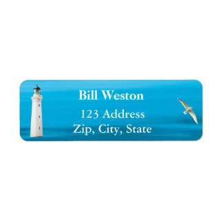 Blue ocean sea and lighthouse address return label return address label