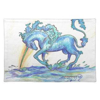 Blue Ocean Sea Unicorn Fish Horse Hippocampus Placemat