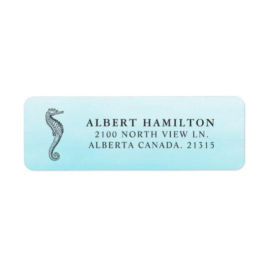 Blue Ocean Seahorse | Personalised Return Address Return Address Label