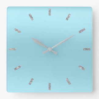 Blue Ocean Silver  Pastel Ombre Minimal Glitter Square Wall Clock