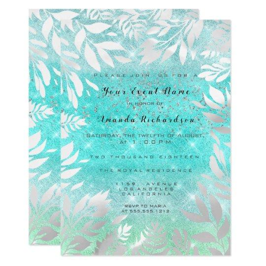 Blue Ocean Sky Glitter Ombre Floral Frame Card