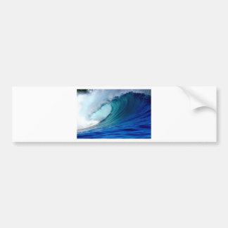 Blue ocean surfing wave bumper sticker