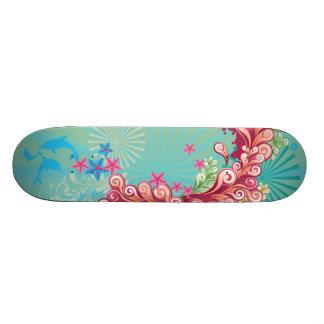 Blue ocean swirls design girls skateboard