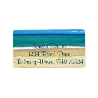 Blue Ocean Waves and a Sandy Beach Address Labels