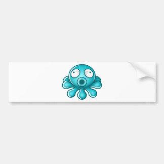Blue Octopus Japanese Logo Bumper Sticker