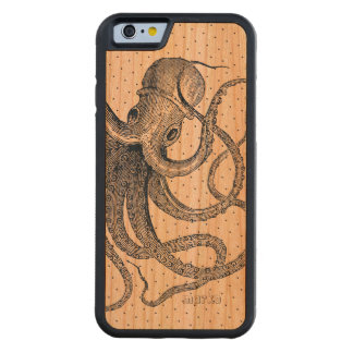 Blue Octopus Nautical Design Carved Cherry iPhone 6 Bumper Case