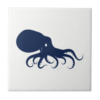 Blue Octopus on White Ceramic Tile