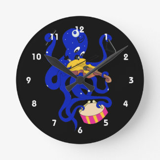 blue octopus playing multiple percussion.png wall clock