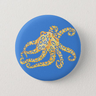 Blue Octopus Stained Glass 6 Cm Round Badge