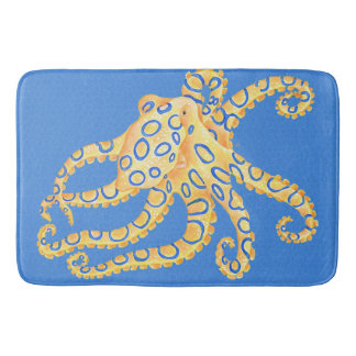 Blue Octopus Stained Glass Bath Mat