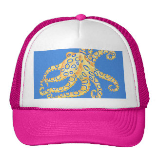 Blue Octopus Stained Glass Cap