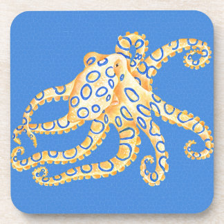Blue Octopus Stained Glass Coasters