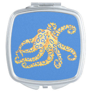 Blue Octopus Stained Glass Compact Mirrors
