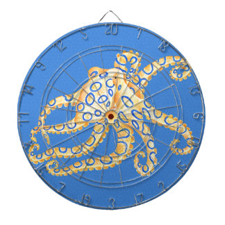 Blue Octopus Stained Glass Dartboard