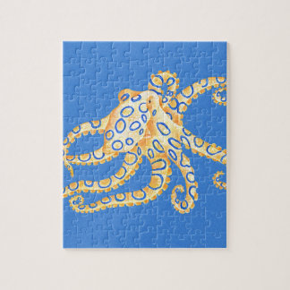 Blue Octopus Stained Glass Jigsaw Puzzle