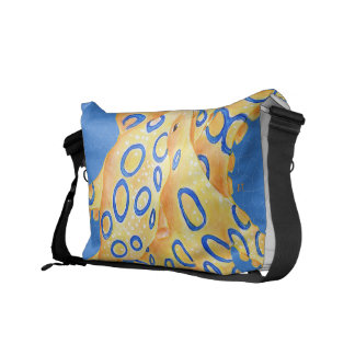 Blue Octopus Stained Glass Messenger Bag