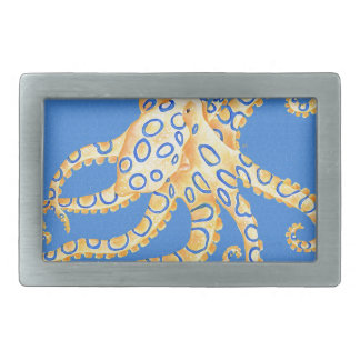 Blue Octopus Stained Glass Rectangular Belt Buckle