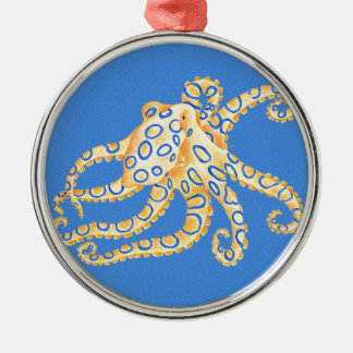 Blue Octopus Stained Glass Silver-Colored Round Decoration