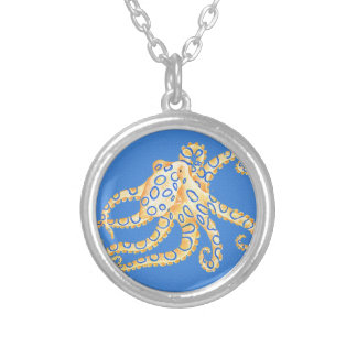 Blue Octopus Stained Glass Silver Plated Necklace