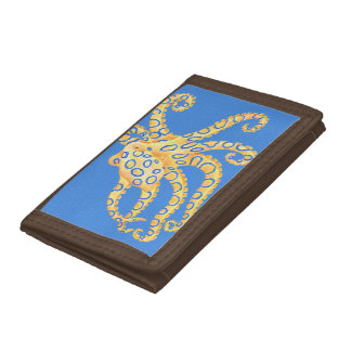 Blue Octopus Stained Glass Trifold Wallets