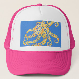 Blue Octopus Stained Glass Trucker Hat
