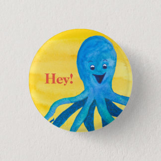 Blue Octopus Yellow Custom 3 Cm Round Badge