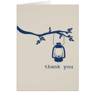 Blue Oil Lantern Camping / Outdoors Thank You Card