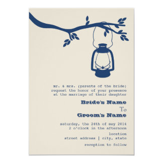 Blue Oil Lantern Wilderness / Camping Wedding Card