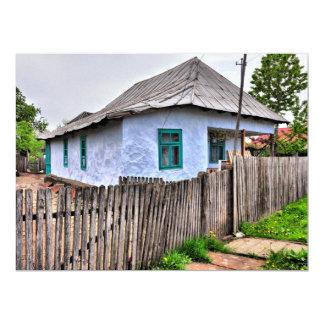 Blue old house 17 cm x 22 cm invitation card