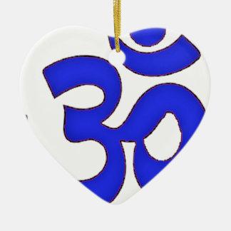 BLUE om,aum,sanskrit, mantra, yoga, tantra Ceramic Heart Decoration