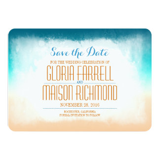 """Blue ombre beach wedding save the date 4.5"""" x 6.25"""" invitation card"""