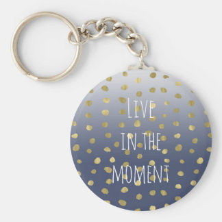 Blue Ombre Gold Dots Personalized Key Ring