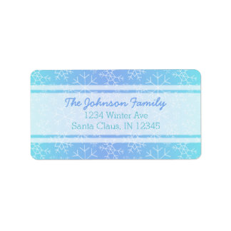 Blue Ombre Hand Drawn Snowflake Address Labels