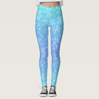 Blue Ombre Hand Drawn Snowflake Leggings